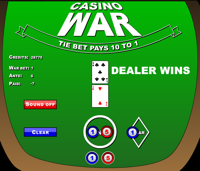 Card game War, adapted for casino game play.